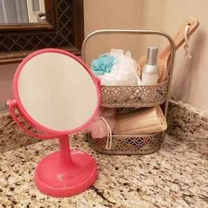 Pink Vanity Mirror Featuring 3x Magnification